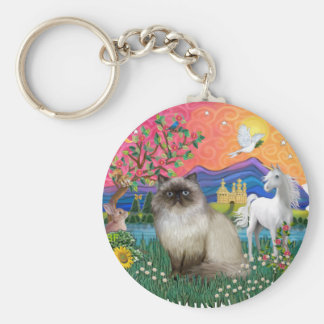 Tierra de la fantasía (FF) - gato de Himilayan Llavero Redondo Tipo Pin
