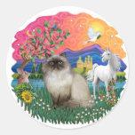 Tierra de la fantasía (FF) - gato de Himilayan Etiqueta Redonda