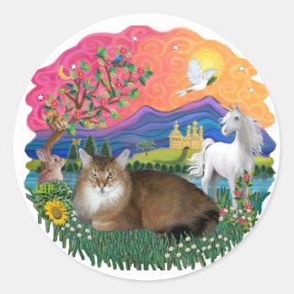 Tierra de la fantasía - gato somalí pegatina redonda