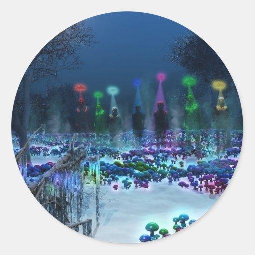 Tierra de la fantasía pegatinas redondas