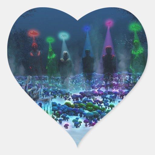 Tierra de la fantasía pegatina corazon