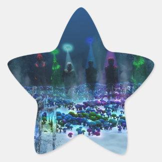 Tierra de la fantasía pegatina en forma de estrella