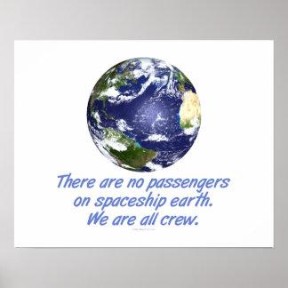 Tierra de la nave espacial, ambiente póster