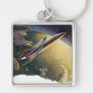 Tierra de la nave espacial del aeroplano de la llavero cuadrado plateado