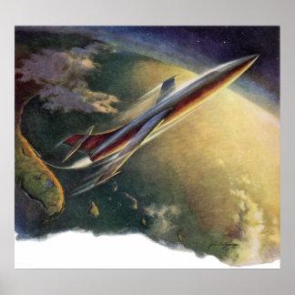 Tierra de la nave espacial del aeroplano de la impresiones