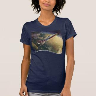 Tierra de la nave espacial del aeroplano de la camiseta