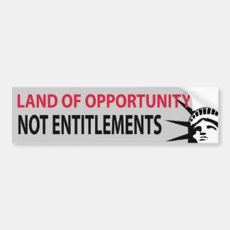 Tierra de los derechos de la oportunidad no pegatina de parachoque