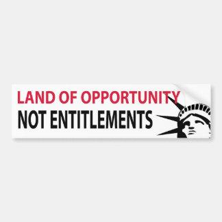 Tierra de los derechos de la oportunidad no etiqueta de parachoque