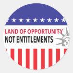 Tierra de los derechos de la oportunidad no pegatinas