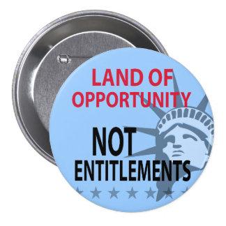 Tierra de los derechos de la oportunidad no pin redondo de 3 pulgadas