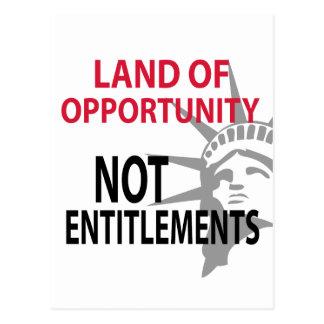 Tierra de los derechos de la oportunidad no tarjeta postal