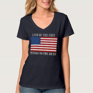 Tierra de los gracias libres a la bandera valiente poleras