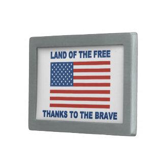 Tierra de los gracias libres al valiente hebilla cinturon rectangular