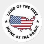 Tierra de los pegatinas patrióticos libres etiquetas redondas