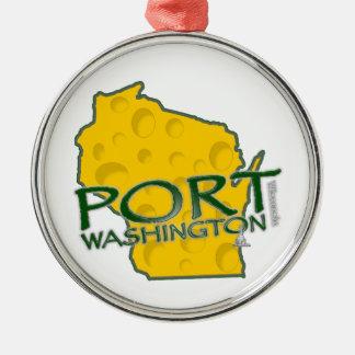 Tierra de los WI de Washington del puerto del Adorno Navideño Redondo De Metal