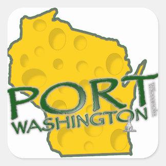 Tierra de los WI de Washington del puerto del Pegatina Cuadrada