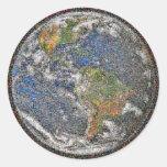 Tierra de mármol azul etiquetas redondas
