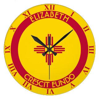 Tierra de New México de la bandera personalizada Reloj Redondo Grande