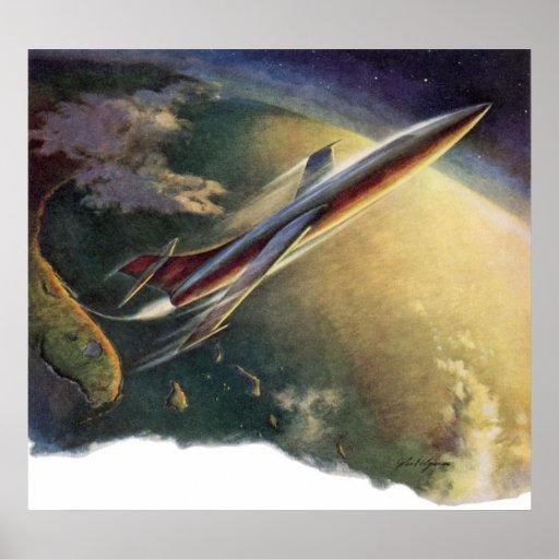 Tierra del aeroplano de la nave espacial de la póster