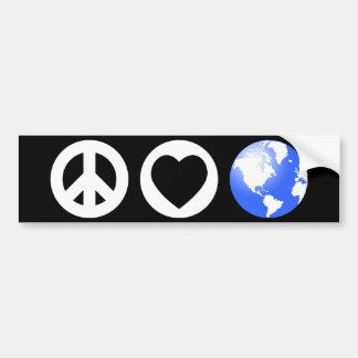 Tierra del amor de la paz pegatina de parachoque