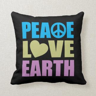 Tierra del amor de la paz cojines