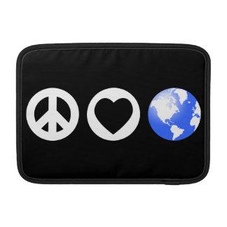 Tierra del amor de la paz funda macbook air