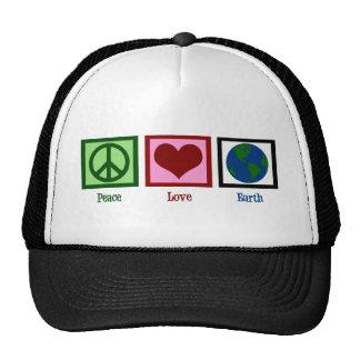 Tierra del amor de la paz gorras