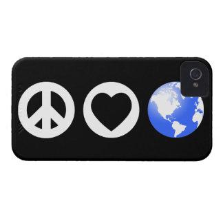 Tierra del amor de la paz iPhone 4 carcasa