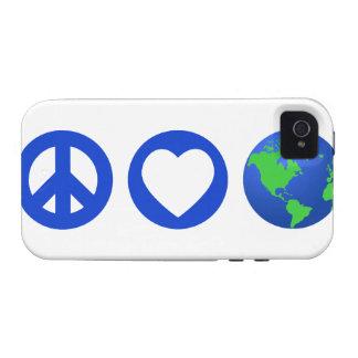 Tierra del amor de la paz iPhone 4 carcasas
