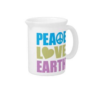 Tierra del amor de la paz jarras de beber