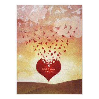 Tierra del amor de levantamiento invitación 13,9 x 19,0 cm