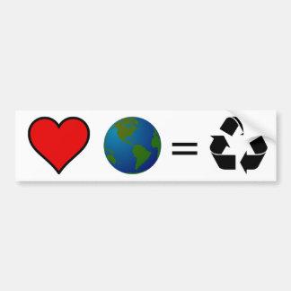 ¿Tierra del amor Recicle Etiqueta De Parachoque