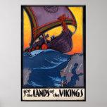 Tierra del anuncio del vintage de Vikingos Impresiones