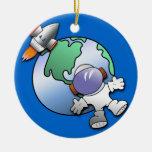 Tierra del astronauta y del planeta adorno de reyes