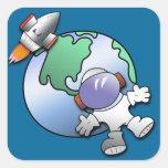 Tierra del astronauta y del planeta etiquetas