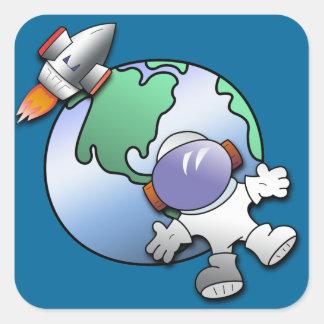 Tierra del astronauta y del planeta colcomanias cuadradases