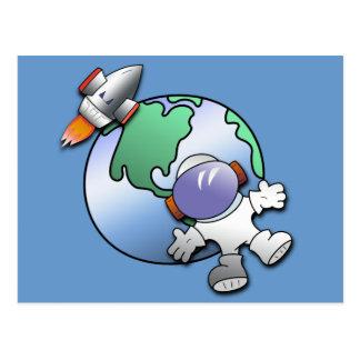 Tierra del astronauta y del planeta tarjeta postal