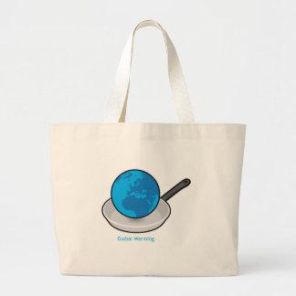 Tierra del calentamiento del planeta en un bolso d bolsa de mano