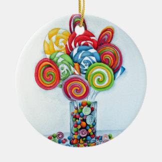 Tierra del caramelo adorno navideño redondo de cerámica