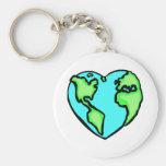 Tierra del corazón llavero personalizado