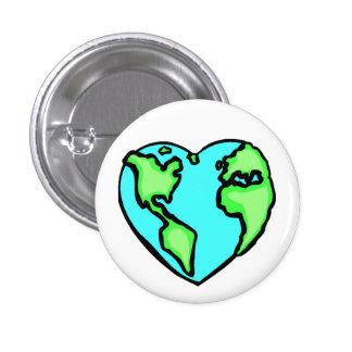 Tierra del corazón pin redondo 2,5 cm