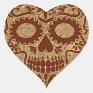 tierra del cráneo pegatina en forma de corazón