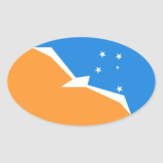 Tierra Del Fuego Flag. Patagonia, Argentina Oval Sticker