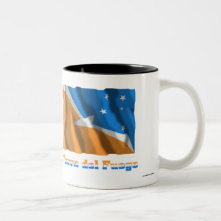 Tierra del Fuego waving flag with name Two-Tone Coffee Mug