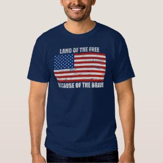 Tierra del libre debido a la camiseta valiente remeras