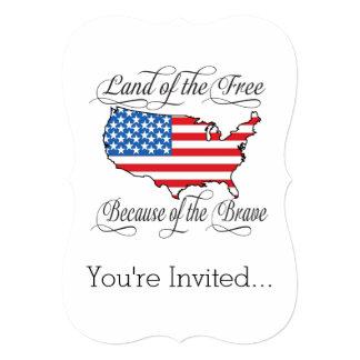 """Tierra del libre debido a los E.E.U.U. patrióticos Invitación 5"""" X 7"""""""