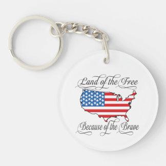 Tierra del libre debido a los E.E.U.U. patrióticos Llavero Redondo Acrílico A Una Cara