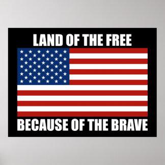 Tierra del libre debido al poster valiente