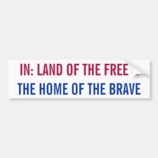 Tierra del libre y el hogar del pegatina valiente pegatina para auto