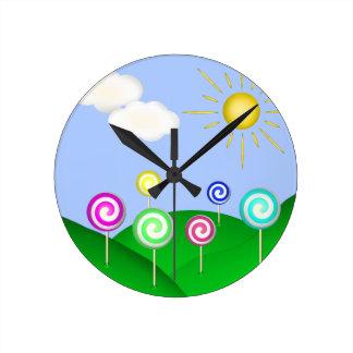 Tierra del Lollipop Reloj Redondo Mediano
